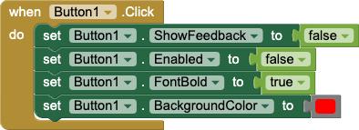 Un gestore di eventi per Button1.Click che modifica una serie di proprietà di Button1