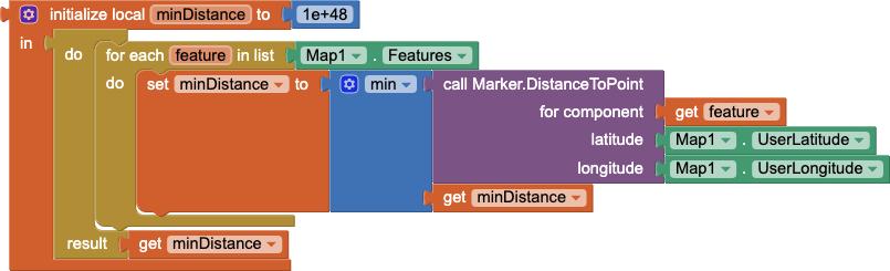 Codice di esempio per determinare la distanza dal marker più vicino su una mappa data la posizione corrente dell'utente