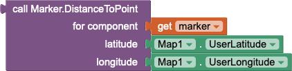 Calcola la distanza dalla posizione corrente dell'utente a un marker fornito nella variabile chiamata feature