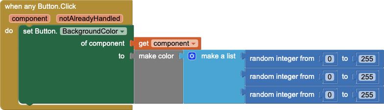 Un gestore di eventi per modificare il colore di sfondo di qualsiasi pulsante quando viene cliccato