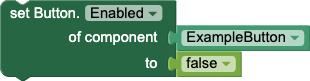 Blocco setter per impostare la proprietà Enabled di un pulsante chiamato ExampleButton su false