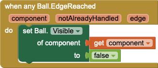 Nuovo codice con un singolo handler raggiunto qualsiasi bordo della palla che sostituisce il codice ripetitivo sopra